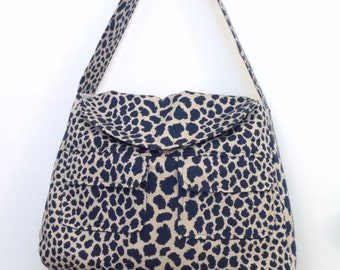 Tote Bag / Shoulder Bag / Tote /  Diaper Bag / travel tote / Handbag / Purse/ Satchel /   Navy Blue and Natural Animal Print
