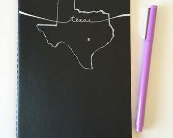 Hand-Printed Texas Moleskine Cahier/Notebook with Flexible Cardboard Cover