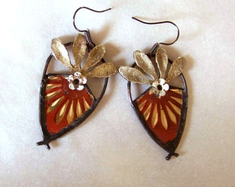 Vintage tin earrings *827