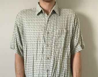 90s Button Up All Over Print Shirt