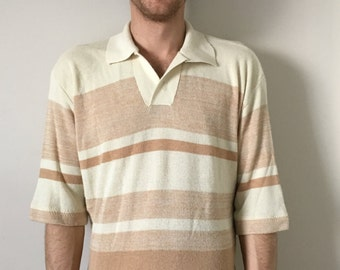 Vintage 70s Acrylic 3/4 Length Sleeve Striped Sweater