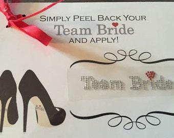 Team Bride Shoe Sticker Bridesmaid Shoe Sticker Silver Red Heart