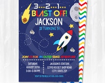 Space Party Invitations - Space Themed Party - Outer Space Birthday Party Invitations - Instantly Downloadable and EDITABLE File!!