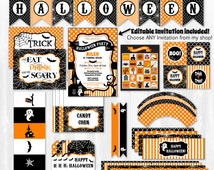 Halloween Invitation - Halloween Party Pack - INSTANTLY DOWNLOADABLE and EDITABLE File - Personalize at home with Adobe Reader!!