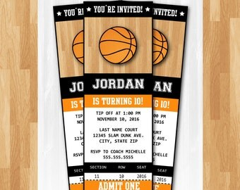 Basketball Invitations - DIY Instantly Downloadable and EDITABLE File!! Personalize with Adobe Reader Now! - Basketball Party Supplies