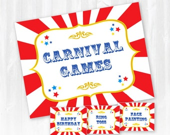 Carnival Party Signs - Instantly Downloadable and Editable File - Personalize at home with Adobe Reader! Carnival Party Supplies