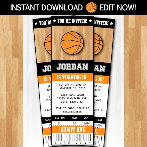 basketball invitations diy instantly downloadable and. Black Bedroom Furniture Sets. Home Design Ideas