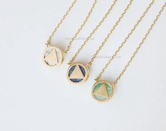 triangle MINT Stone Necklace, mint stone reversible necklace, gemstone necklace