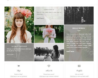 wordpress theme - trouvaille - mobile responsive wordpress template with custom colors, shop, and portfolio - INSTANT DOWNLOAD