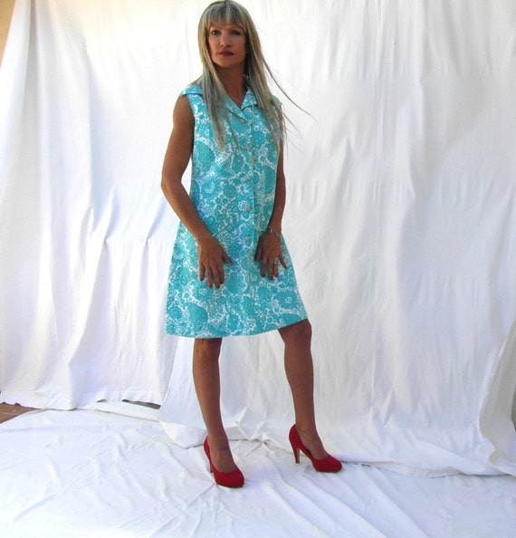1960s Cotton Dress Turquoise And White Floral Dress Granny