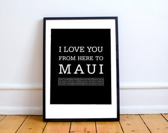 Maui art print, Maui print, Maui, Maui Travel print, Maui wedding gift, Maui Hawaiian islands travel poster, Wall decor