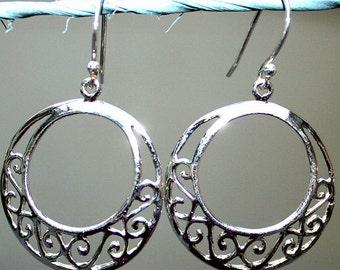 Earrings .925 Sterling Silver Hoops Filigree Girls Teens Women Boho Hippie