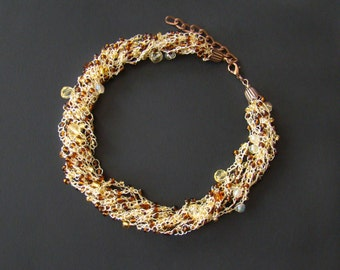 Clothing gift Beaded jewelry Gold Beads crochet necklace Airy Gold Brown necklace Chunky bib popular necklace Stretch elastic necklace