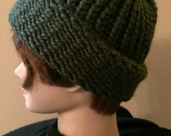Hand Knit Adult Winter Hat/Beanie Moss Green