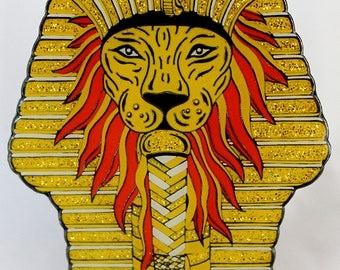 PHAROAH'S ROAR Hat Pin!!! Lion and Sphinx Limited-Edition Collectible with Glitter!!
