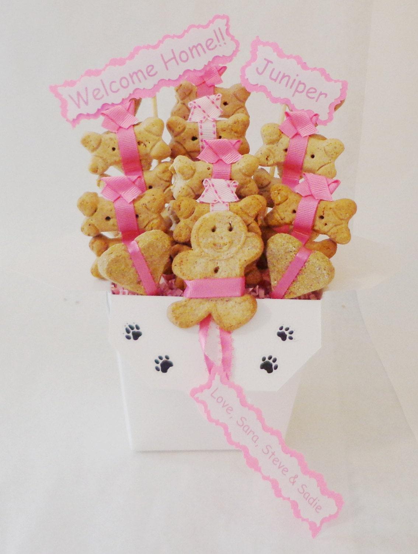 Dog biscuit treat dog gift basket unique dog gift for Unusual dog gifts