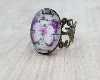 Butterfly Filigree Brass Ring