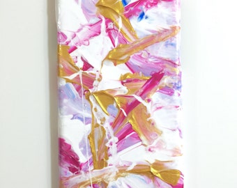 iPhone 6 Case - Abstract Hand Painted Cover - Cellphone Accessories - hard plastic - Pink Blue White Gold