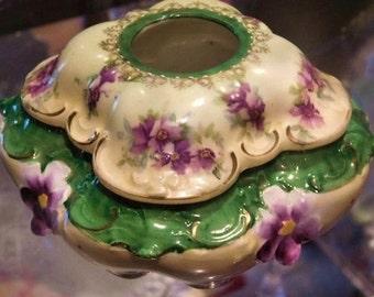 RS Prussia Hair Receiver Porcelain Hair Receiver Art Nouveau 1900s Victorian Antique Hair Receiver Vanity Boudoir German Germany Porcelain
