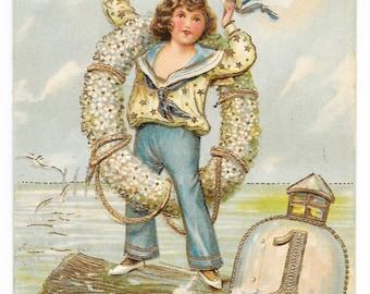 Sailor Ahoy! New Year's Postcard, 1907