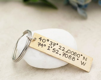 Coordinates Keychain, Personalized Keychain, GPS Longitude Latitude, Custom Coordinates Keychain, Graduation Gift,  Gift