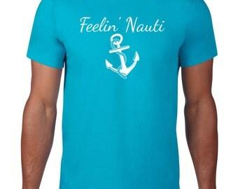CLEARANCE FINAL SALE, Feelin Nauti Tshirt, Nautical T Shirt, Sailing Tshirt, Boating T shirt, Anchor T Shirt,  Tee,