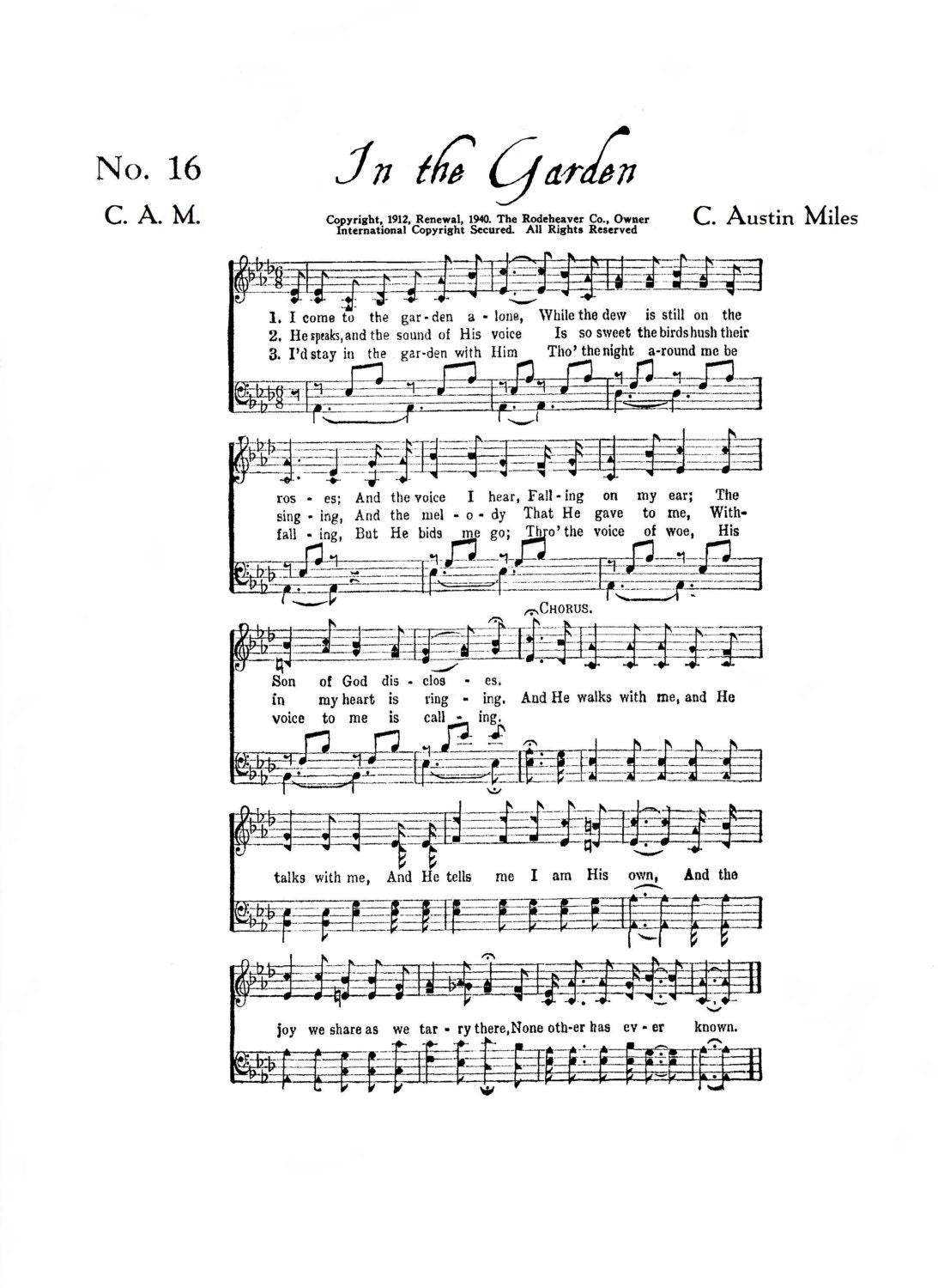 In The Garden Christian Hymn Digital Sheet Music Home Decor