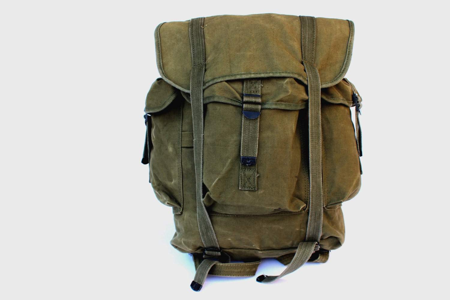 Vintage military canvas backpack travel waxed backpack school