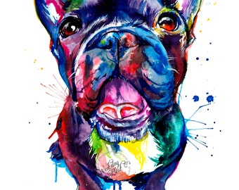 Black French Bulldog (Frenchie) Art Print - Print of Original Watercolor Painting