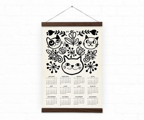Wall calendar 2016 home decor cats a3 a3 size 100 by durido Home decor wall calendar