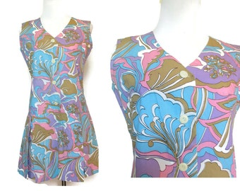 60s Romper 1960s Playsuit Psychedelic Mod Print Pastel Made in Japan Size Small Medium Hippie Festival One Piece