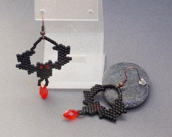 Halloween jewelry black bat jewelry halloween earrings vampire jewelry gothic jewelry bat earrings goth jewelry horror jewelry witch jewelry
