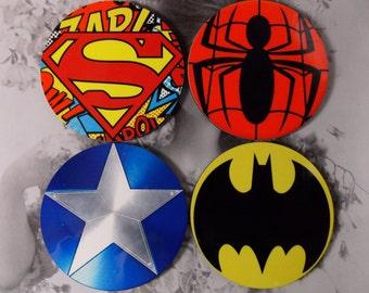 Super Hero Coasters - Superman - Spiderman - Captain America - Batman