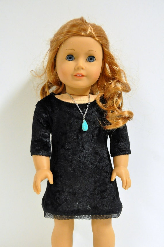 18 Inch Doll Clothes Black Velour 3/4 Sleeve Dress with Lace Hem made to fit 18 inch dolls such as American Girl