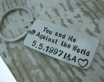 You And Me Against The World Keychain, Anniversary Gift For Boyfriend, Girlfriend Gift, Long Distance Relationship, Gift For Boyfriend