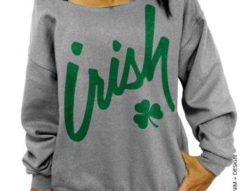 Irish Clover - St. Patricks Day - Gray Slouchy Oversized Sweatshirt