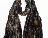 "Brown velvet scarf - grey velvet scarf - velvet scarf - winter scarf - silk blend velvet - brown, grey, mocha, taupe - hand dyed - 13""x59"""