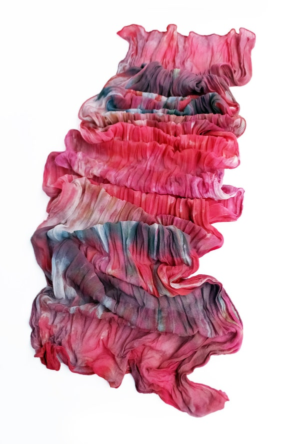"""Silk chiffon scarf - crinkle scarf - large scarf - hand dyed - grey, pink, red-orange, red-violet - LARGE - 17"""" x 74"""""""