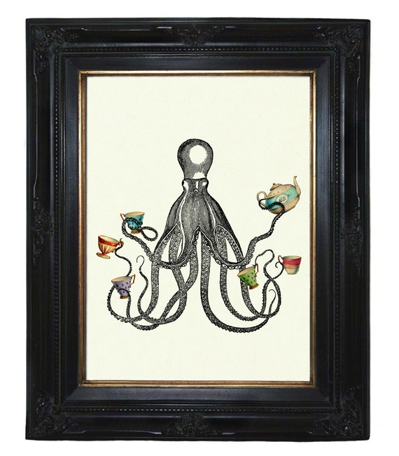 Octopus Kraken Tea Party Cups Teapot Tentacles Victorian Steampunk art print