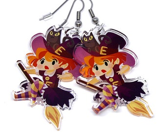 Witch Earrings, Cute Witch, halloween earrings, witch please, witchy gift, spoopy, halloween jewelry, anime earrings, witches, witchcraft