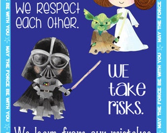STAR WARS theme - Character Education Classroom Banner / LARGE / In Our Class, Leia, Hans, Luke, Rey, Finn, Maz, Poe, Darth Vader, Kylo