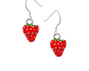 Silver Plated, hand enameled, Strawberry Earrings