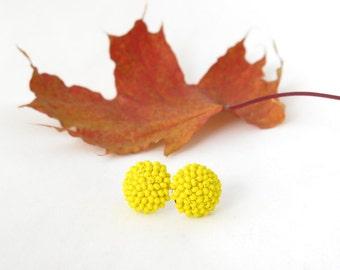 Yellow Earrings - Yellow Stud Earrings - Bright Yellow Earrings - Round Stud Earrings - Solid Yellow - Bead Crochet Earrings