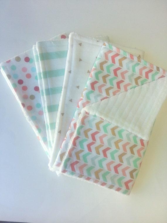 Baby Girl Burp Cloth Set Set of 4 Burp Cloths Multi Color