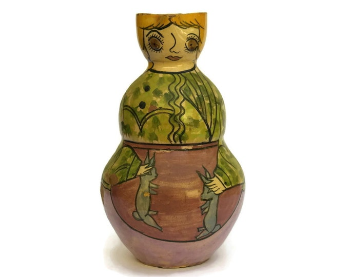 Antique Anthropomorphic Woman Pitcher. Portuguese Pottery Jug with Farmer's Wife and Rabbits. Rustic Kitchen Décor.