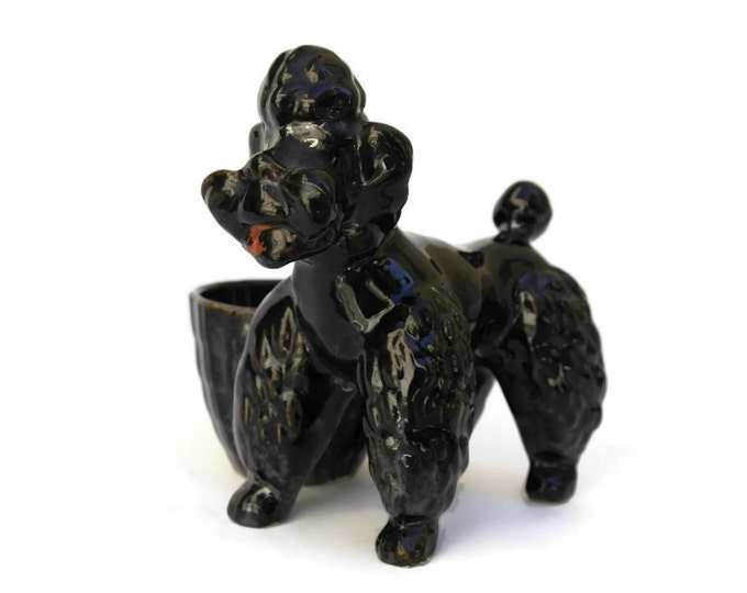 Vintage French Poodle Ring Dish. Mid Century Ceramic Dog Figurine and Coin Dish.