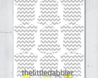 Grey Chevron Mini Baby Shower Onesie Tags -- Baby Shower One Piece Thank You Favor Gift Tags, Mini Onesie Place Setting -- Printable PDF