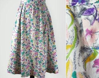 1940s Floral Print Full Midi Skirt