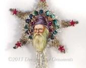 Victorian Santa with Purple/Lavender Hood on Silver Tinsel Star Tree Topper TT15012