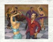 Smooth Salsa PRINT or CANVAS Salsa Art. Salsa dancers on the Dance Floor Art.